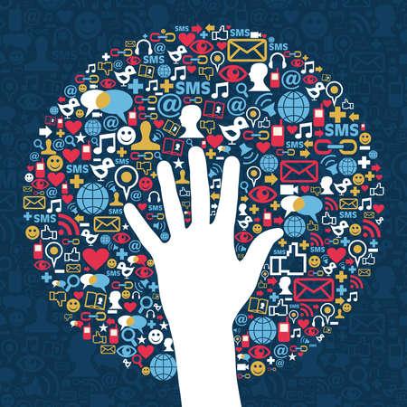 interaccion social: Medios de comunicaci�n social de la red de negocios de �xito a mano Vector archivo de capas para la manipulaci�n f�cil y personalizada para colorear Vectores