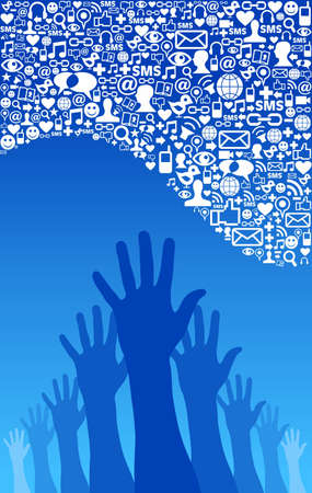 Les médias sociaux réseau d'affaires de succès concept de vecteur de fond du fichier en couches pour une manipulation facile et la coloration personnalisée Vecteurs