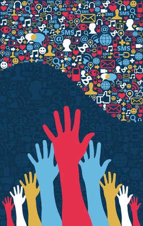 Social Media Strategie Icons in Wellenform Layout mit Händen Vektor-Datei gesetzt für einfache Handhabung und individuelle Färbung geschichtet Vektorgrafik