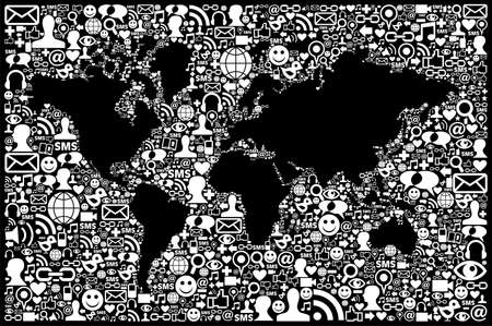 Social media icons set in World map shape  Vector file layered for easy manipulation and custom coloring  Vector