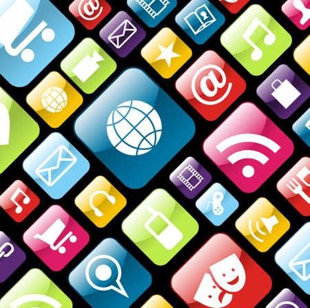 toque: Smartphone app icon set background. file layered for easy manipulation and customisation. Ilustra��o