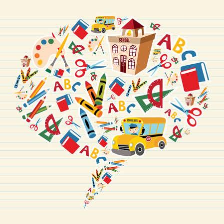 escuela edificio: Conjunto de herramientas de la escuela y la composici�n de Suministros en la burbuja social. Vectores