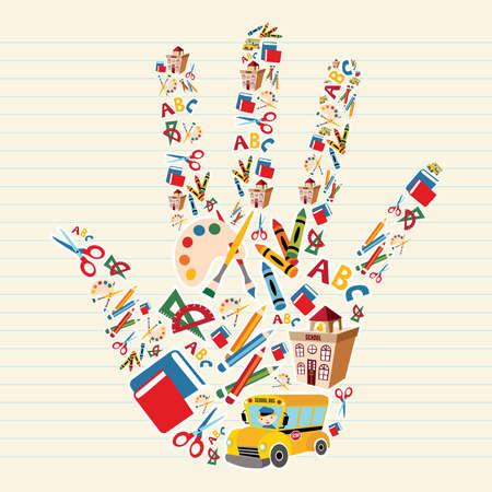 Outils et fournitures scolaires en arrière-plan forme de la main.