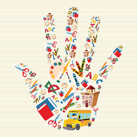 primary colours: School tools and Supplies in hand shape background.