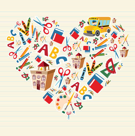 primary colours: Set of school tools and supplies in heart shape background.