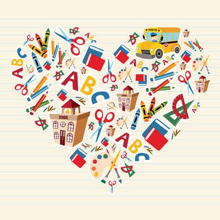 Set van scholen hulpmiddelen en benodigdheden in hartvorm achtergrond. Vector Illustratie