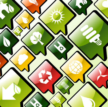 Green environment care apps icons set background Stock Vector - 13896372