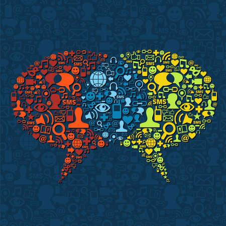 Medios de comunicación social conjunto de iconos en dos burbujas de comunicación oral. Ilustración de vector