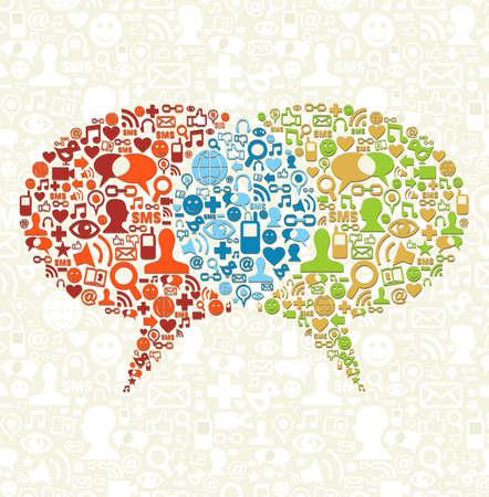comunicar: Burbujas del discurso conexión hecha con iconos de medios sociales establecidos.