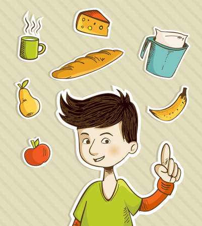 Cartoon boy shows healthy food for breakfast: apple, banana, pear, cheese, bread, coffee and milk. Vector