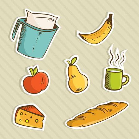 Healthy cartoon food for breakfast: apple, banana, pear, milk cup, cheese and bread. Vector