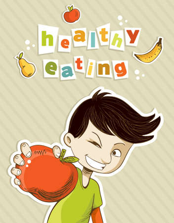Healthy food, cartoon teenager boy with red apple and fruits.