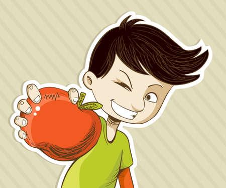 happy people eating: Healthy food, cartoon teenager boy with red apple.