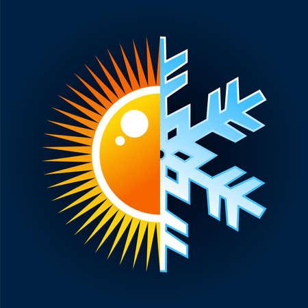 Hiver comme été, chaude et froide icône de température sur fond bleu. déposer en couches pour une manipulation aisée et la coloration personnalisée. Vecteurs