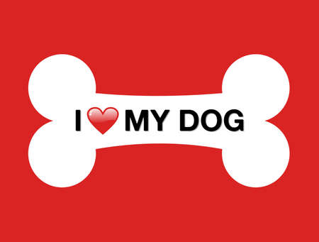 veterinary symbol: I love my dog and cartoon bone over red background.