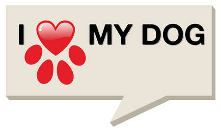 design media love: I love my dog with paw heart over social media bubble