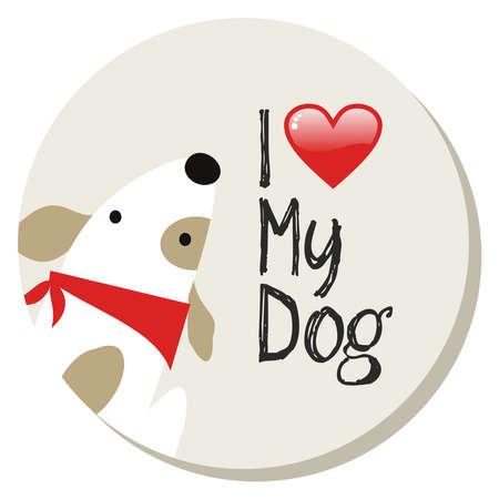 amor adolescente: Yo amo a mi perro de dibujos animados de diseño de fondo adhesivo. archivo de capas para la manipulación fácil y personalizada para colorear