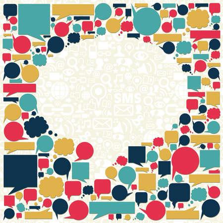 sociologia: Los medios sociales iconos de la textura en el fondo hablar de burbuja composici�n de forma.