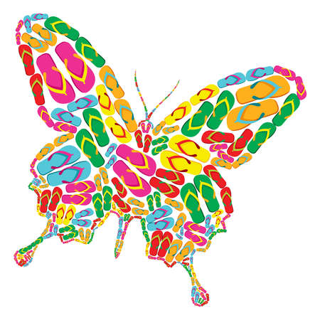 Butterfly shape made with multicolor flip flops Illustration