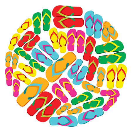 Circle made with multicolored flip flops isolated over white background file layered for easy manipulation and custom coloring  Vector