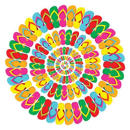 Bunte Flip Flops Mandala isoliert über weißem Hintergrund