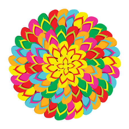 flip: Mandala shape made with multicolor flip flops isolated over white background