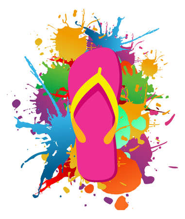 Flip flops over paint color splash isolated over white  Vector