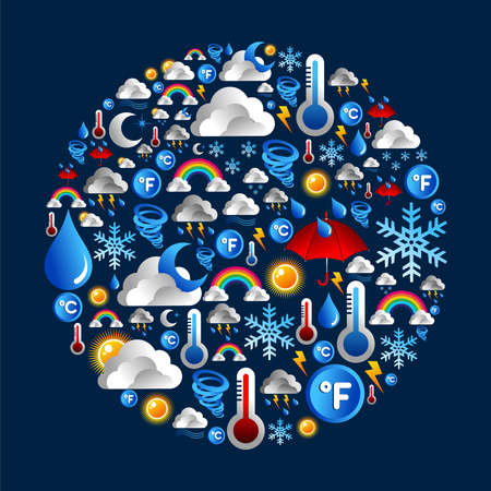 Weather icon set in circle shape over blue background  Vector