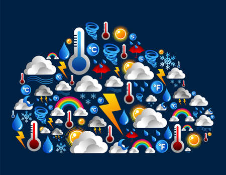 Weather icons set in cloud computing shape background Vector