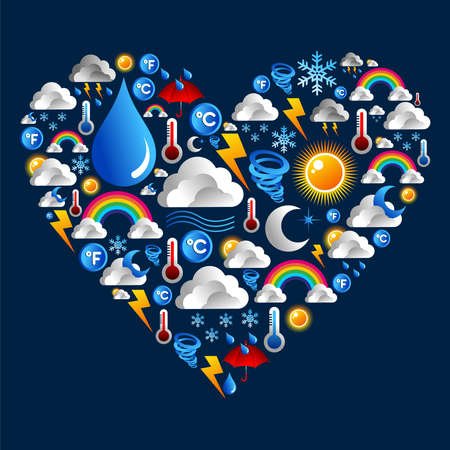 Weather Icons set in love heart shape over blue background   Vector