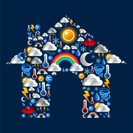 Weather Icons Set in house shape background  Vector