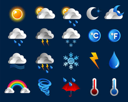 Climate icons set over blue background file layered for easy manipulation and custom coloring Stock Vector - 13903167