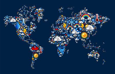 Stel Weer-iconen in Earth kaart van de wereld over blauwe achtergrond Vector Illustratie