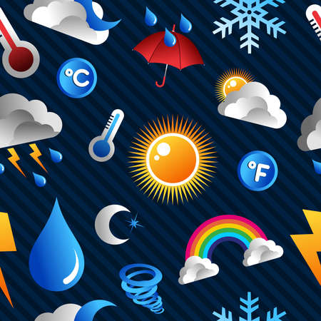 Weather Icons seamless pattern over blue background file layered for easy manipulation and custom coloring  Vector
