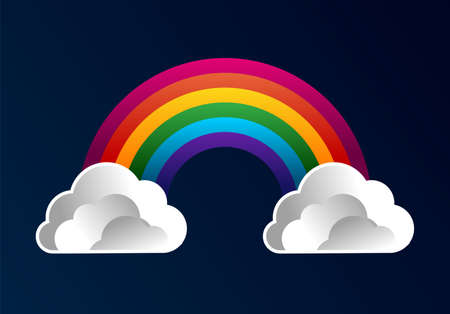 Colorful rainbow with cartoon clouds over blue background.  Vector