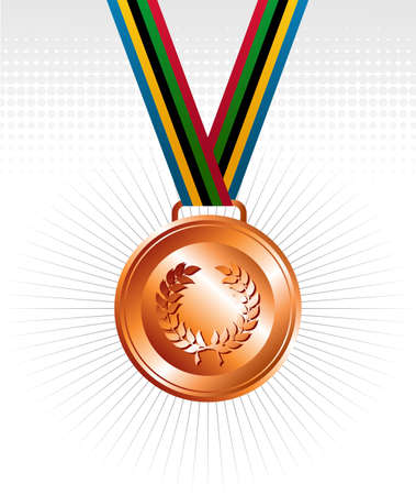 Olympic bronze medal with ribbon elements set background. Vector file layered for easy manipulation and customisation. Vector