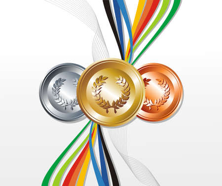 Sport gold, silver and bronze medals with ribbon elements set background. Vector file layered for easy manipulation and customisation. Illustration