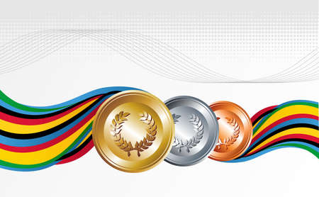 Sport gold, silver and bronze medal with ribbons background. Vector file layered for easy manipulation and customisation. Vector