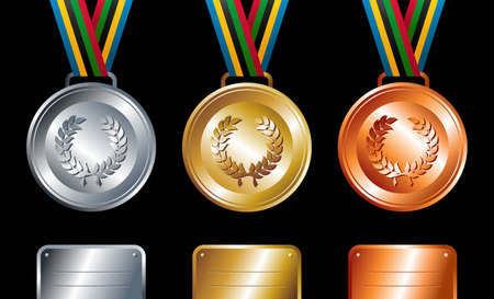 official record: Sport gold, silver and bronze medals with ribbon elements set background. Vector file layered for easy manipulation and customisation. Illustration