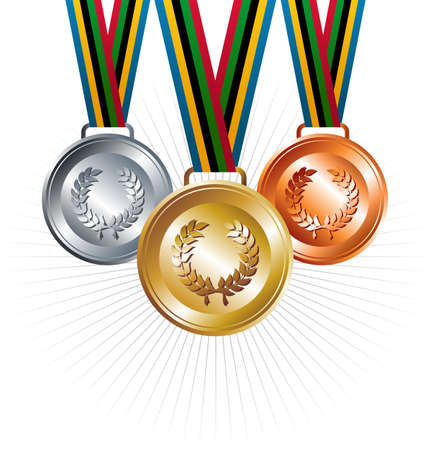 Sport gold, silver and bronze medals with ribbon elements set background  Vector file layered for easy manipulation and customisation  Vector