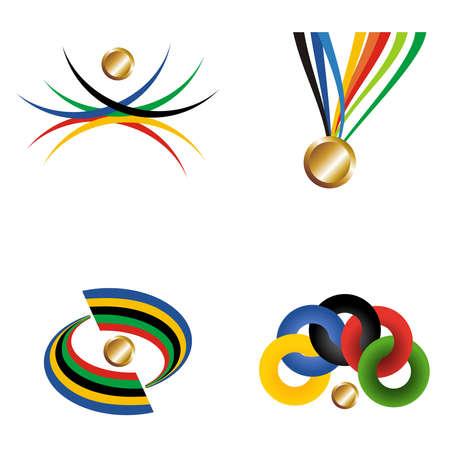 M�daille d'or du sport avec des �l�ments mis en ruban. Fichier vectoriel couches pour une manipulation facile et la personnalisation. Banque d'images - 13999983