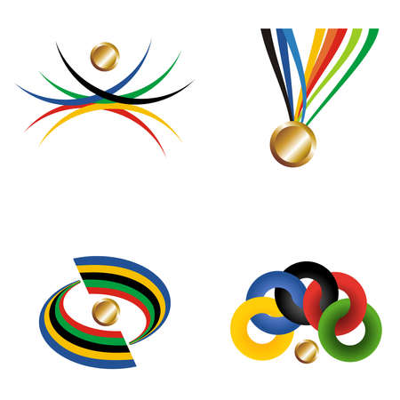 official record: Sport gold medal with ribbon elements set. Vector file layered for easy manipulation and customisation.