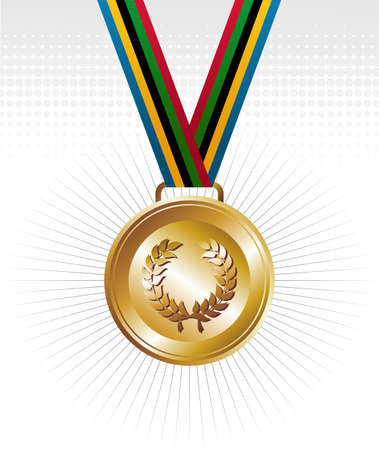 official record: Sport gold medal with ribbon elements set background. Vector file layered for easy manipulation and customisation. Illustration