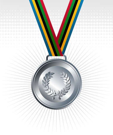 official record: Sport silver medal with ribbon background. Vector file layered for easy manipulation and customisation.