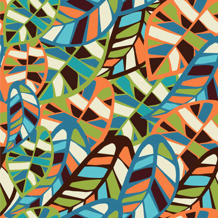 biologic: Abstract colorful leaves seamless pattern background  Vector file layered for easy manipulation and coloring