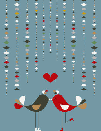 Communication love concept: birds couple fall in love. Vector