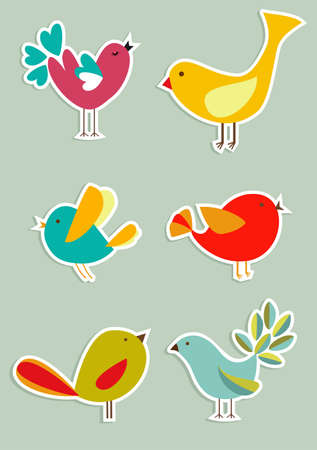 Retro Social media birds in label style series.  Vector