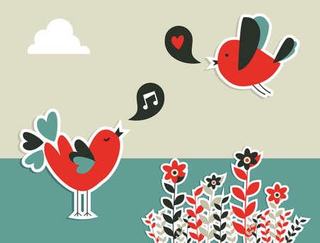Fresh communication concept  birds with social speech bubble Vector