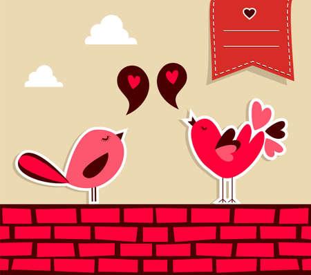 Trendy love concept  urban bird couple fall in love   Illusztráció