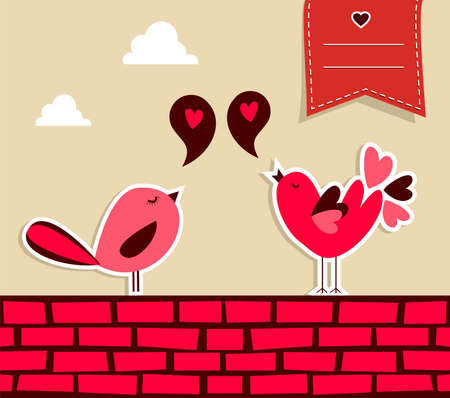 design media love: Trendy love concept  urban bird couple fall in love   Illustration